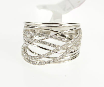 14K 1.00 Ctw Diamond Encrusted Tiered Layer Wavy Band White Gold Ring, Size 7