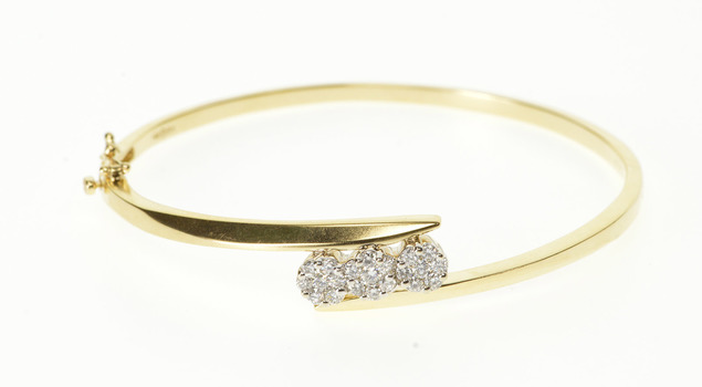 "14K 1.00 Ctw Floral Diamond Cluster Bangle Yellow Gold Bracelet 6.75"""