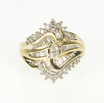 14K 1.00 Ctw Marquise Diamond Retro Bypass Yellow Gold Ring, Size 6