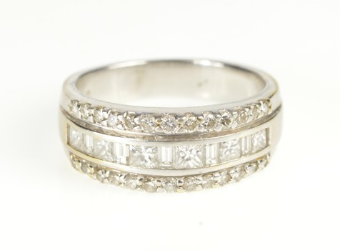 14K 1.02 Ctw 3 Row Tiered Diamond Channel Band White Gold Ring, Size 6