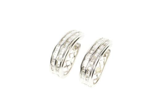 14K 1.04 Ctw Baguette Diamond Encrusted Oval Hoop White Gold Earrings