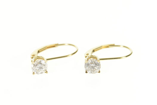 14K 1.04 Ctw Diamond Solitaire Lever Back Yellow Gold Earrings