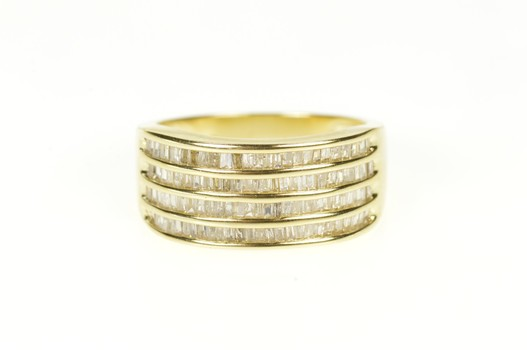 14K 1.04 Ctw Tiered Baguette Diamond Statement Band Yellow Gold Ring, Size 7