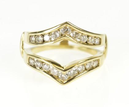 14K 1.08 Ctw Diamond Chevron Wedding Band Wrap Yellow Gold Ring, Size 6.75