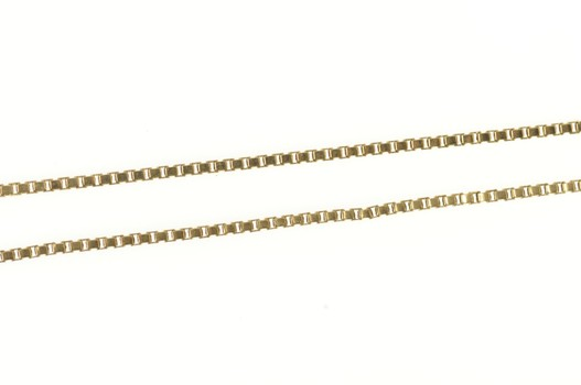 """14K 1.0mm Square Chain Long Fancy Box Link Yellow Gold Necklace 32"""""""