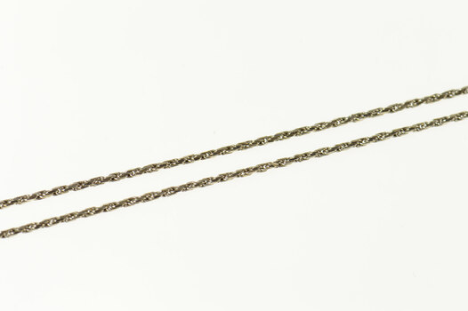 """14K 1.0mm Woven Rope Chain Classic Link White Gold Necklace 16"""""""