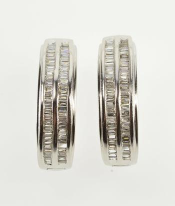 14K 1.10 Ctw Diamond Channel Encrusted Hoop White Gold Earrings