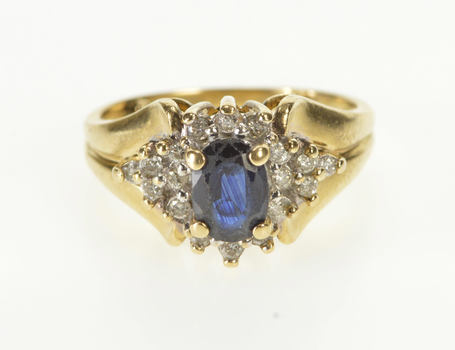 14K 1.11 Ctw Oval Sapphire Diamond Engagement Yellow Gold Ring, Size 5.75