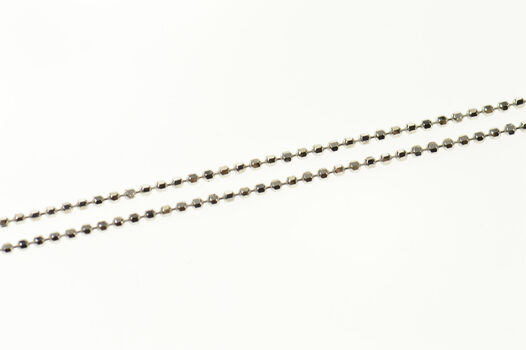 """14K 1.1mm Ball Link Fancy Classic Chain White Gold Necklace 17.75"""""""