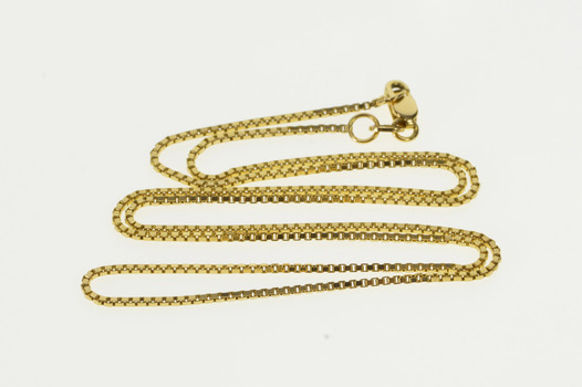 """14K 1.1mm Box Fancy Squared Chain Link Yellow Gold Necklace 18"""""""