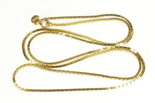 """14K 1.1mm Thick Box Link Classic Square Chain Yellow Gold Necklace 20.25"""""""