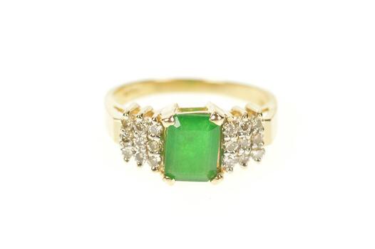 14K 1.20 Ctw 1950's Emerald Diamond Engagement Yellow Gold Ring, Size 7
