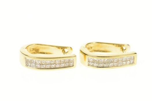14K 1.20 Ctw Princess Diamond Oval Hoop Yellow Gold Earrings