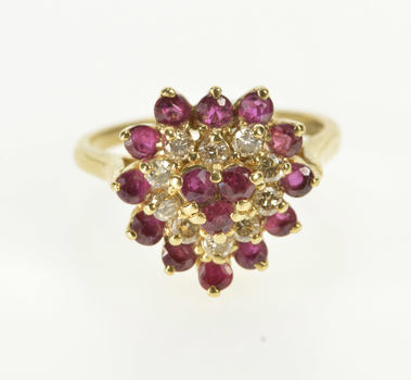 14K 1.20 Ctw Ruby Diamond Cluster Heart Cocktail Yellow Gold Ring, Size 6.25