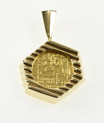14K 1/20th Oz Gold Panda Grooved Striped Yellow Gold Pendant