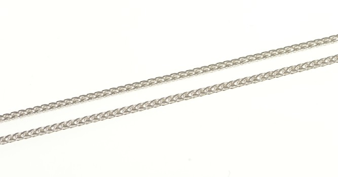 """14K 1.2mm Square Braid Foxtail Link Chain White Gold Necklace 18"""""""