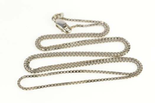 """14K 1.2mm Square Chain Classic Box Link White Gold Necklace 18.25"""""""