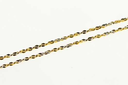 """14K 1.2mm Two Tone Rolling Spiral Serpentine Link Yellow Gold Necklace 18"""""""