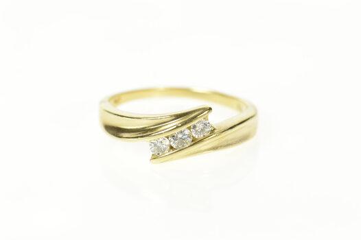 14K 1/3 Ctw Diamond Three Stone Simple Bypass Yellow Gold Ring, Size 9