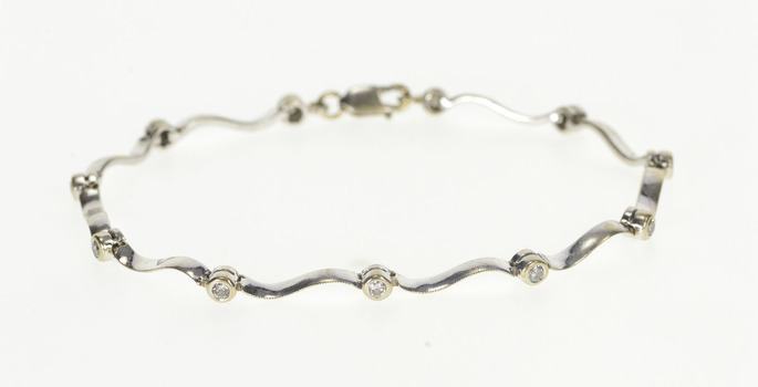 "14K 1/3 Ctw Diamond Wavy Link Fashion Tennis White Gold Bracelet 6.5"""