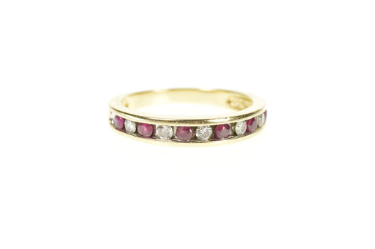 14K 1/3 Ctw Ruby Diamond Classic Wedding Band Yellow Gold Ring, Size 7