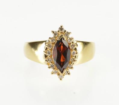 14K 1.32 Ctw Marquise Garnet Diamond Engagement Yellow Gold Ring, Size 7.25