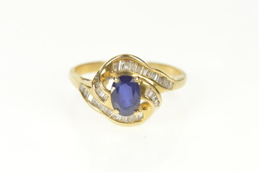 14K 1.32 Ctw Oval Sapphire Diamond Engagement Yellow Gold Ring, Size 8