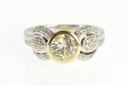 14K 1.34 Ctw Ornate Diamond Elaborate Engagement White Gold Ring, Size 6