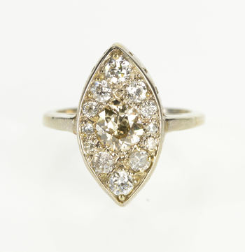 14K 1.35 Ctw Diamond Ornate Pointed Oval Engagement White Gold Ring, Size 7