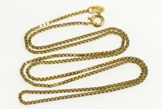 14K 1.3mm Classic Simple Box Link Chain Yellow Gold Necklace 17.75""