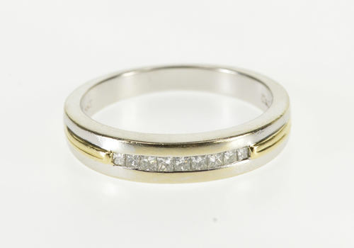 14K 1/4 Ctw Princess Cut Diamond Wedding Band White Gold Ring, Size 10