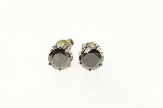 14K 1.40 Ctw Black Diamond Solitaire Stud White Gold Earrings