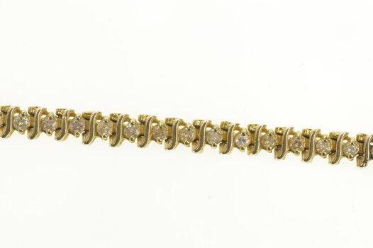 "14K 1.47 Ctw Diamond Classic Diamond Tennis Yellow Gold Bracelet 7.5"""