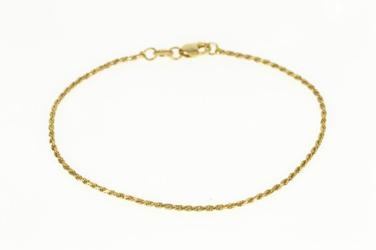 """14K 1.4mm Classic Rope Spiral Chain Yellow Gold Bracelet 7"""""""