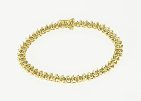 "14K 1.50 Ctw Diamond Inset Wavy Curvy Link Tennis Yellow Gold Bracelet 7"""