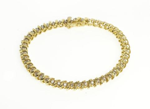 "14K 1.50 Ctw Diamond Wavy Link Fashion Tennis Yellow Gold Bracelet 7"""