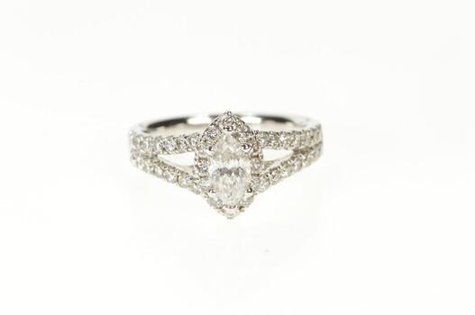 14K 1.50 Ctw Marquise Diamond Halo Engagement White Gold Ring, Size 7