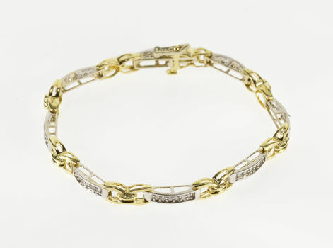 14K 1.50 Ctw Two Tone Diamond Curved Bar X Link Yellow Gold Bracelet 7.1""