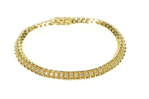 "14K 1.55 Ctw Classic Simple Diamond Tennis Yellow Gold Bracelet 7.25"""