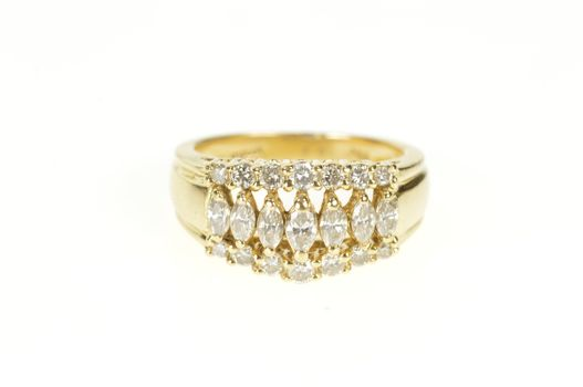 14K 1.56 Ctw Graduated Marquise Diamond Band Yellow Gold Ring, Size 6.25
