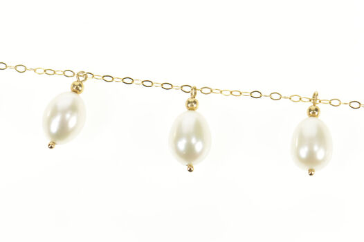 """14K 1.5mm Chain Pearl Fringe Beaded Statement Yellow Gold Necklace 19"""""""