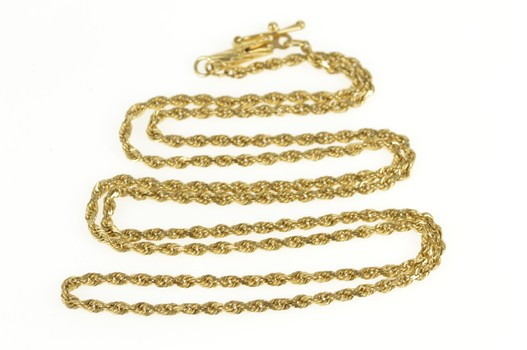 """14K 1.5mm Rope Chain Rolling Spiral Link Yellow Gold Necklace 18.5"""""""