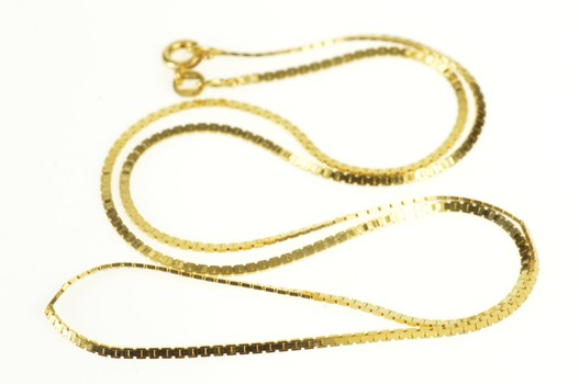 14K 1.5mm Squared Flat Fancy Chain Link Yellow Gold Necklace 19.75""