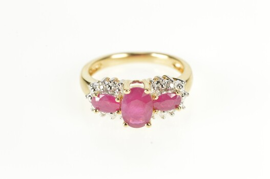 14K 1.60 Ctw Oval Ruby Diamond Halo Engagement Yellow Gold Ring, Size 5