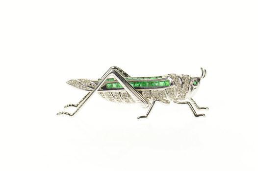 14K 1.67 Ctw Diamond Emerald Pave Grasshopper White Gold Pin/Brooch