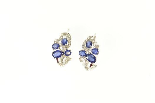 14K 1.68 Ctw Sapphire Diamond Swirl Hoop White Gold Earrings