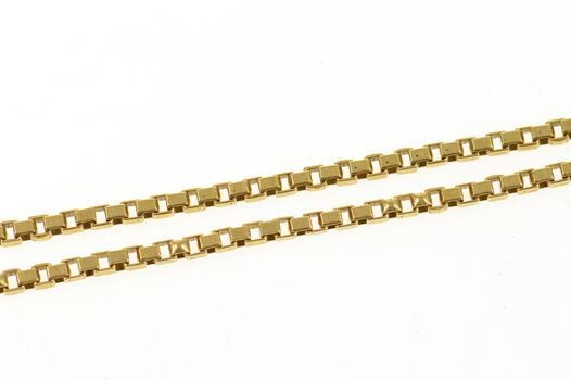 """14K 1.6mm Box Link Twist Fancy Square Chain Yellow Gold Necklace 21"""""""