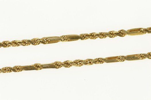 14K 1.6mm Fancy Figaro Rope Link Rolling Chain Yellow Gold Necklace 24.5""