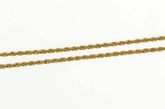 """14K 1.6mm Rope Chain Fancy Rolling Twist Link Yellow Gold Necklace 16"""""""
