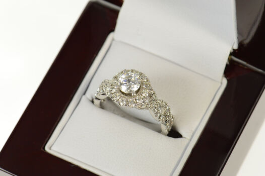 14K 1.70 Ctw Diamond Halo Neil Lane Engagement White Gold Ring, Size 6.75